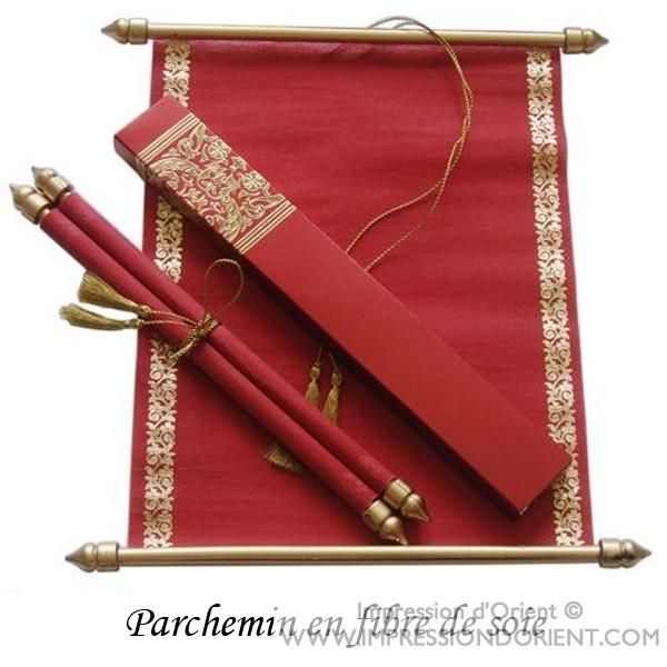 parchemin said rouge en fibre de soie pour mariage ou. Black Bedroom Furniture Sets. Home Design Ideas