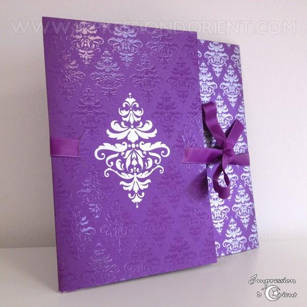 carte nora violet pour mariage ou naissance faire part oriental pas cher - Faire Part Mariage Pas Cher Oriental