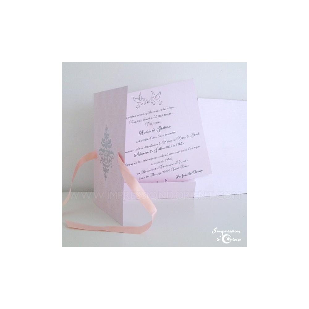 carte nora rose pour mariage naissance faire part. Black Bedroom Furniture Sets. Home Design Ideas