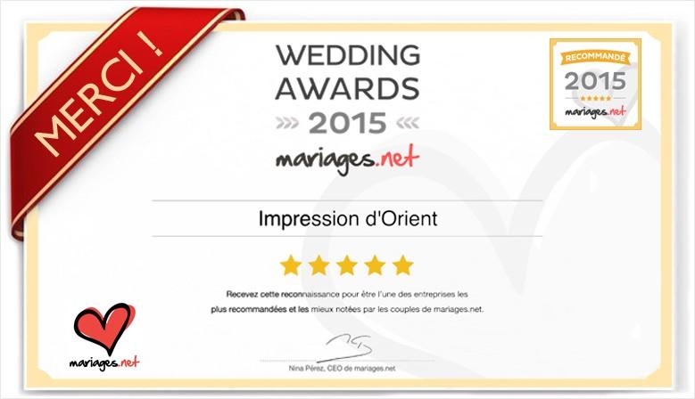 Grâce a vous, Impression d'Orient a obtenu une récompense Mariages.net !