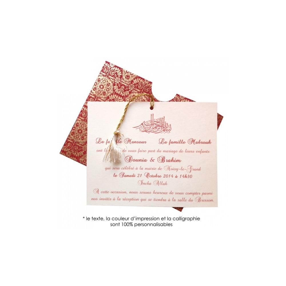 sakina rouge faire part vu dans 4 mariages pour une lune. Black Bedroom Furniture Sets. Home Design Ideas
