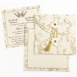 Najoua - Vue d'ensemble du faire-part, de son enveloppe et de son feuillet personnalisable