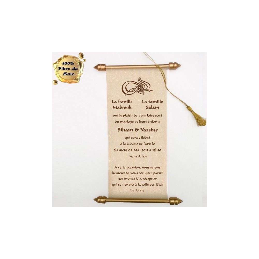 parchemin dalil blanc et or en fibre de soie pour mariage. Black Bedroom Furniture Sets. Home Design Ideas