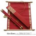 Faire-Part parchemin - Fibre de soie rouge et or