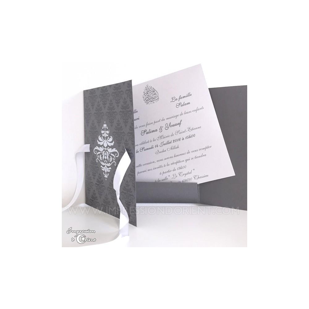 carte nora argent pour mariage ou naissance faire part oriental pas cher. Black Bedroom Furniture Sets. Home Design Ideas