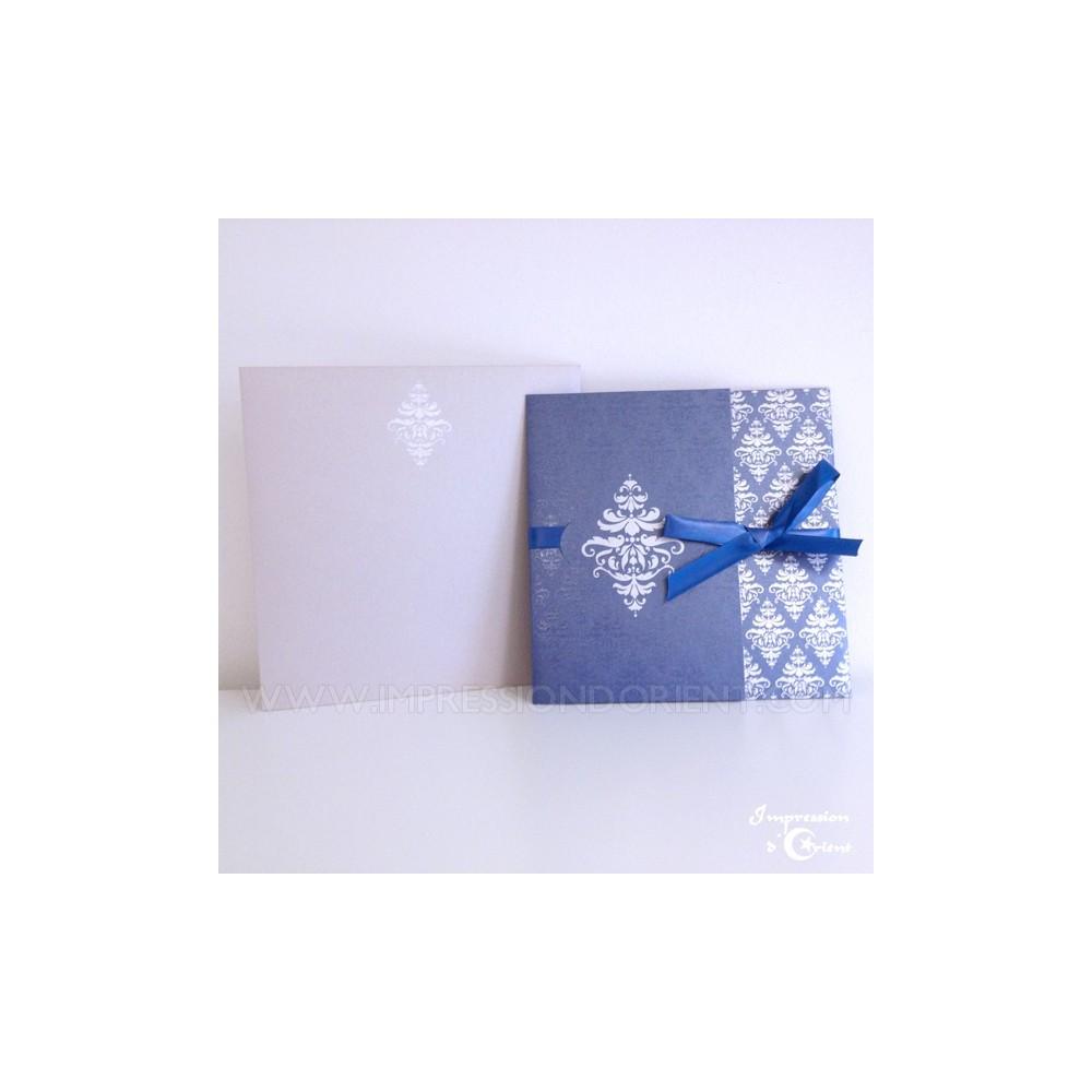 carte nora bleu pour mariage ou naissance faire part oriental pas cher. Black Bedroom Furniture Sets. Home Design Ideas