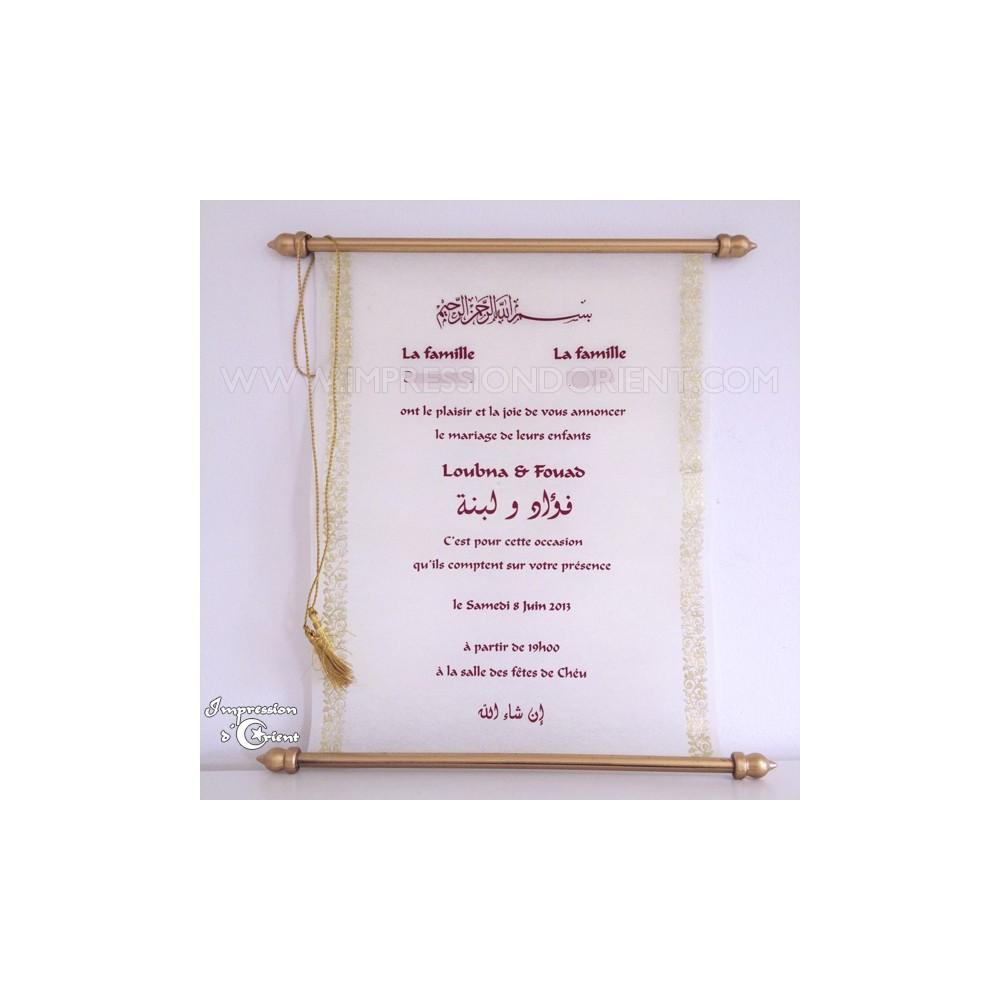 parchemin said or en v ritable fibre de soie pour mariage. Black Bedroom Furniture Sets. Home Design Ideas
