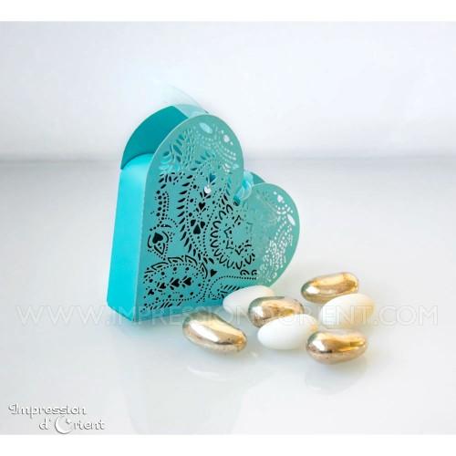 Coeur arabesque turquoise