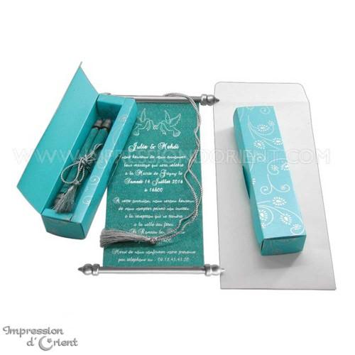 Kamel - Parchemin bleu turquoise pour invitation