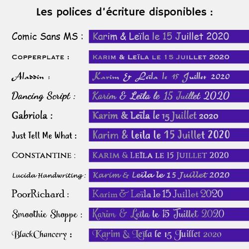 Police : LUCIDA HANDWRITTING - Ruban violet et argenté