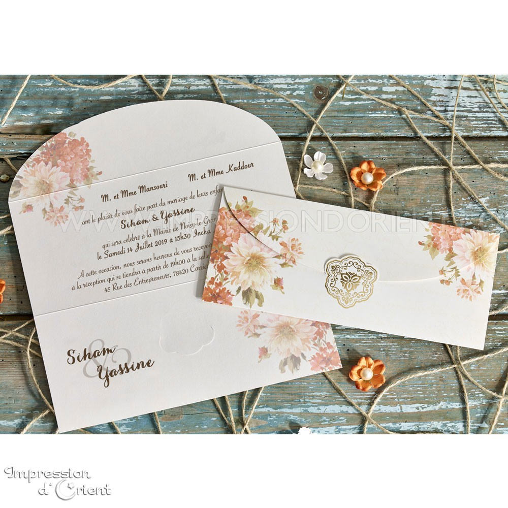 Invitation carte Maya mariage