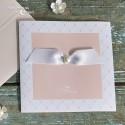 Faire part - Rose pâle ruban blanc avec perle