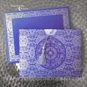 Faire-Part mariage - Pochette violette et pompon argenté
