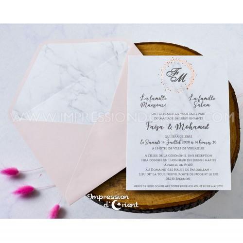 Echantillon - Faire part marbre enveloppe rose chic