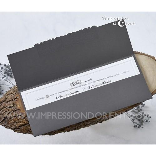 Faire part arabesque argenté - étui gris anthracite