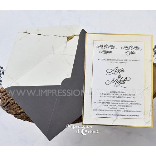 Faire part marbre gris et or - enveloppe assortie