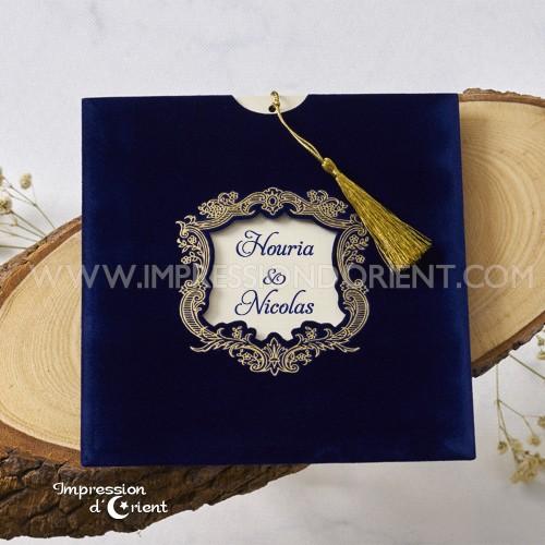 """Faire-Part en velours - """"Velours Bleu Baroque"""""""