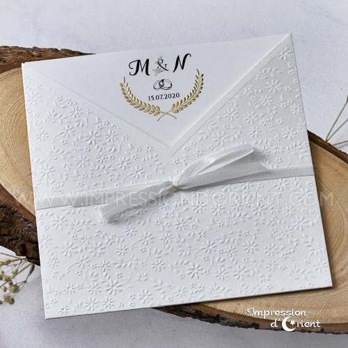 Faire part pochette glamour - avec ruban blanc