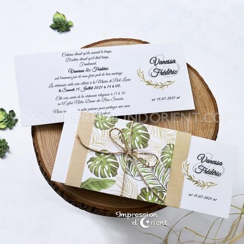 Echantillon - Faire part mariage tropical avec dorure