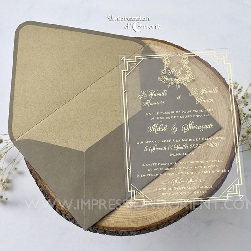 Faire part mariage transparent - calque plexi avec dorure