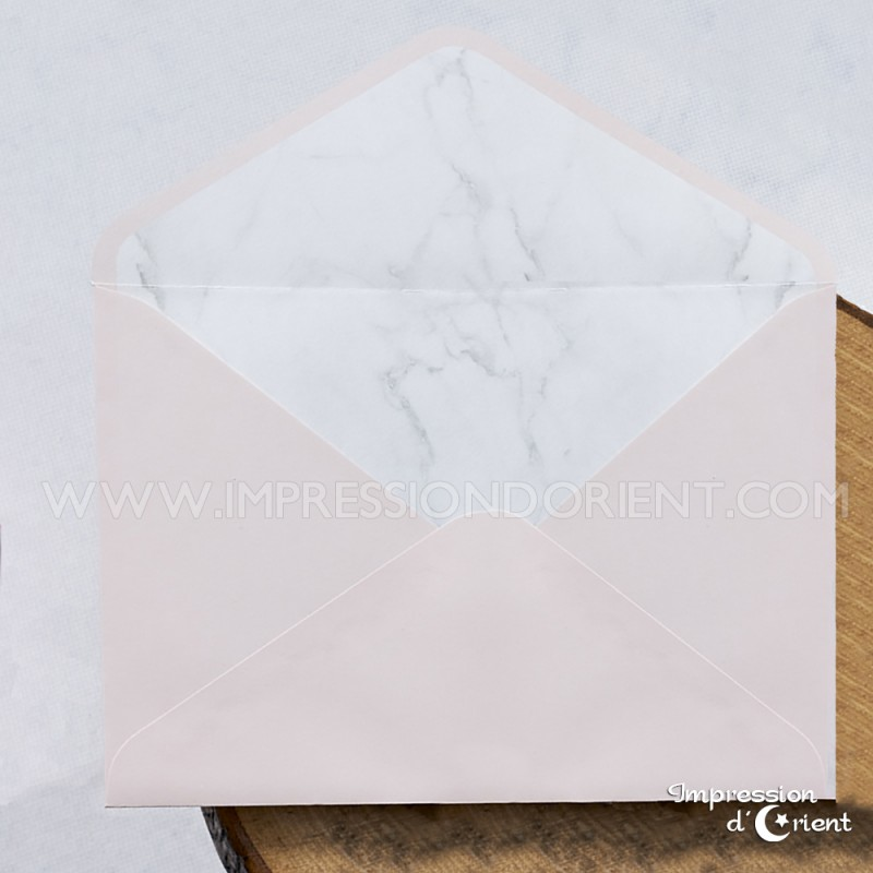 Faire part marbre - feuillet marbre & enveloppe rose chic