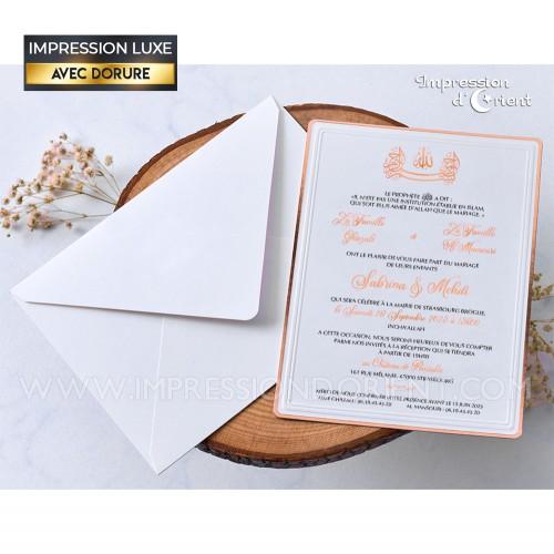 Faire part mariage chic - papier texturé avec contour cuivré et dorure