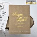 Faire part mariage vintage chic - pochette effet kraft avec dorure