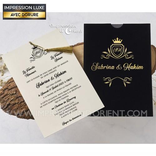 Faire part mariage royal - pochette velours noir avec dorure