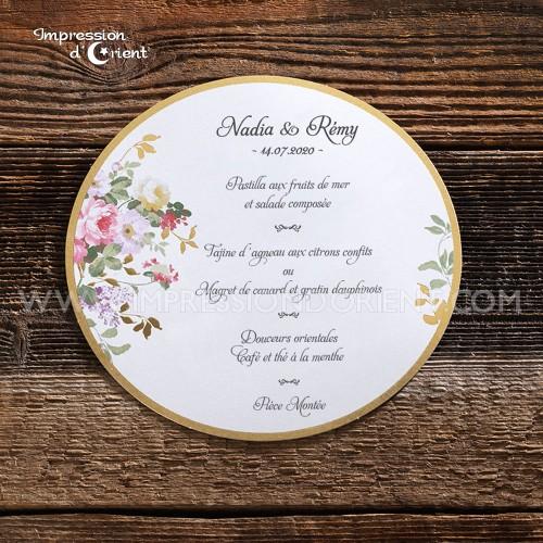 Menu Rond avec dorure et fleurs - Mariage pas cher