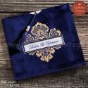 Faire-Part mariage - Velours bleu et arabesques or