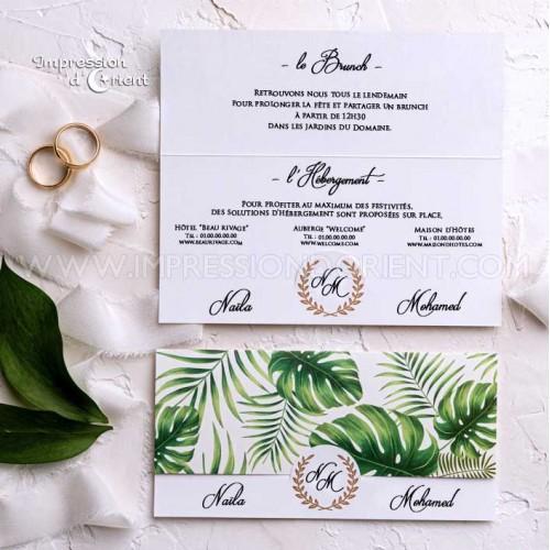coupon-réponse mariage thème Tropical
