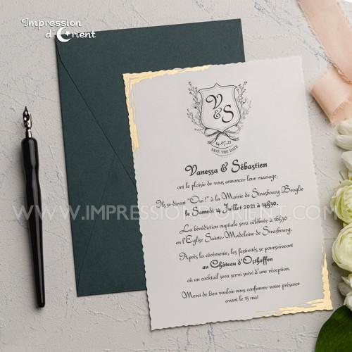 Faire part mariage doré avec enveloppe vert sapin - Medieval chic