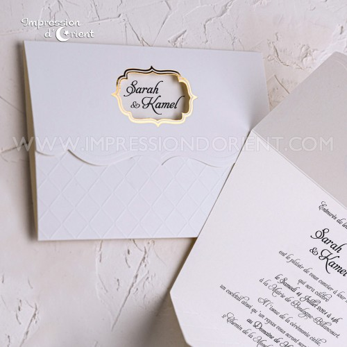 Faire part mariage SARAH - blanc et doré élégant avec prénoms