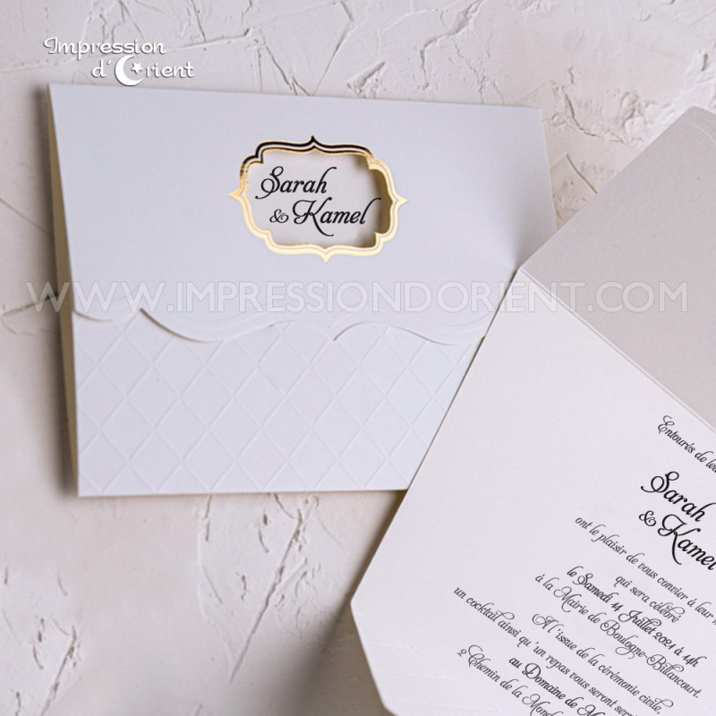Cheap oriental invitation with arabesque and hot foil gold