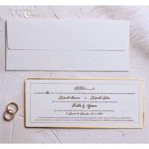 Faire part mariage blanc doré avec enveloppe - Classique et élégance