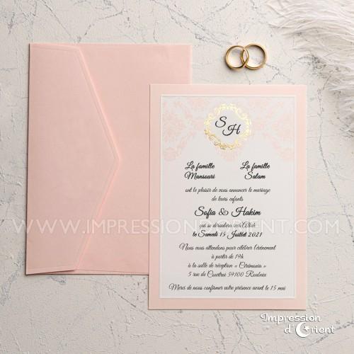 Faire part mariage rose poudré et or avec enveloppe rose - Motif baroque avec dorure