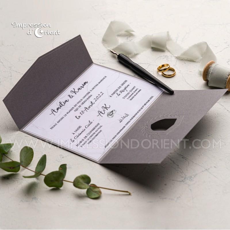 Faire part mariage MARWA - argenté et gris anthracite avec effet marbre
