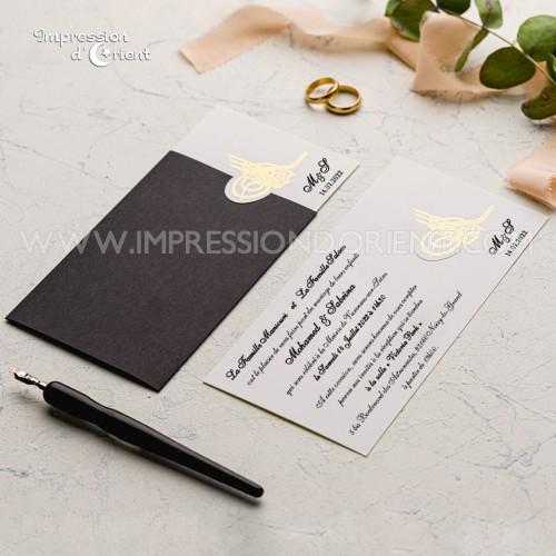 Échantillon - Faire-part mariage BESMA noir et or avec calligraphie