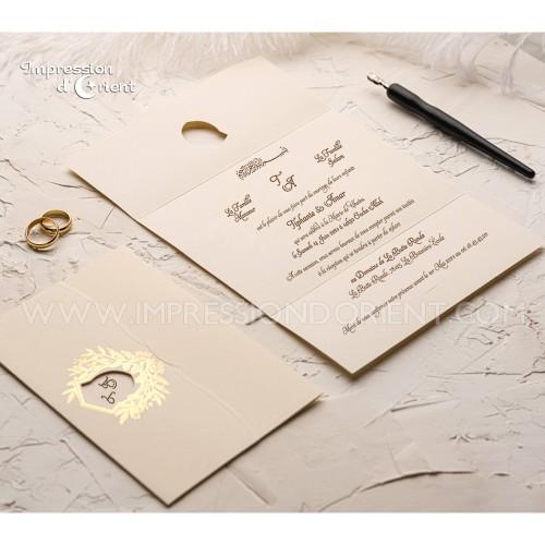 Faire part mariage AMANDA - 2 plis, couleur crème et dorure