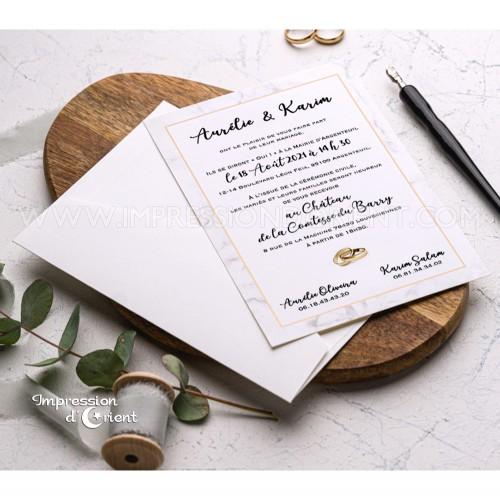 Faire part mariage effet marbre avec enveloppe intérieur marbre - Modèle ELENA