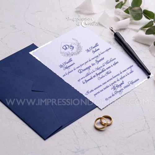 Faire part mariage blue navy et argent, chic et élégant - Modèle IZAYA