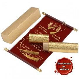Royal - Vue d'ensemble du parchemin en velours, de son écrin doré et de sa boite