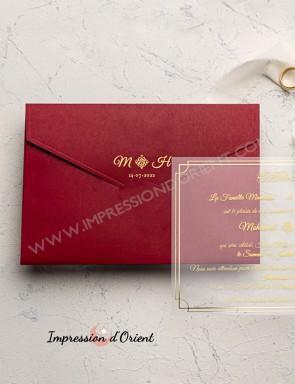 Faire part mariage transparent avec enveloppe personnalisée - calque plexi avec dorure