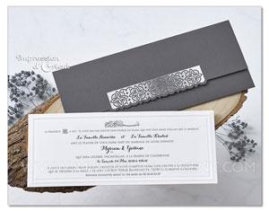 Faire part mariage arabesque argenté - étui gris anthracite