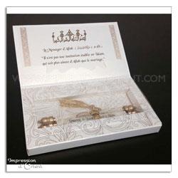 Faire-Part parchemin - Coffret prestige blanc et or avec parchemin et feuillet