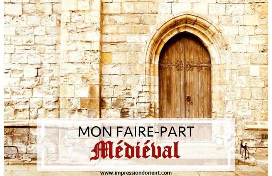 Faire-part Médiéval pour mariage sur le thème Moyen-Age